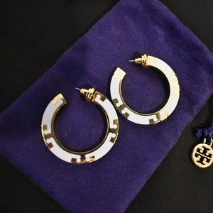 Tory Burch Baby Blue & Gold Hoops